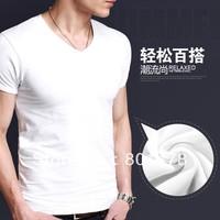 2013 new Korean elastic Slim short-sleeved T-shirt men's V-neck solid color bottoming shirt B3651