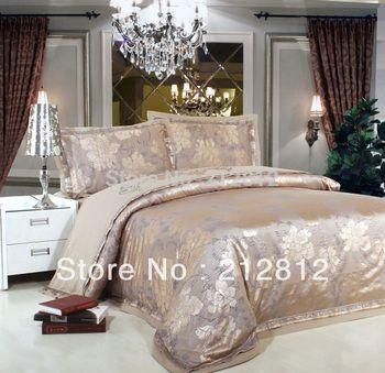 Livraison gratuite literie de luxe en soie 4 pcs feuille Floral Jacquard couvercle ensembles de literie de soie de couette / set couette / lit king / queen