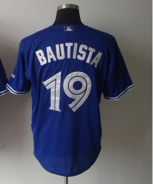 All players jerseys ,Discount Toronto blue Jays #19 Bautista blue white grey usa baseball jersys wholesale , free shipping fee(China (Mainland))