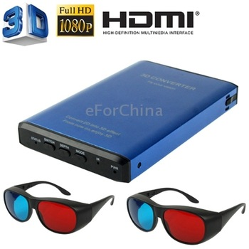 Full HD 1080P HDMI 2D to 3D Signal Converter with 3D Video Glasses Support 3D TV / 3D Projector / 2D Normal TV Display