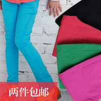 2013 spring children's clothing child female child boot cut jeans candy color pencil pants trousers legging jeans
