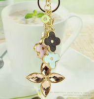 Crystal car keychain lovers commodity four leaf clover