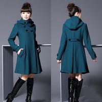 Autumn and winter overcoat plus size long design women's woolen outerwear mantissas outerwear overcoat