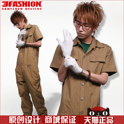 Free Shipping 3fashion thick plain fashion one piece work wear tooling coverall logo(China (Mainland))