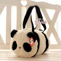 Free shipping holiday sale super cute panda cartoon plush baby messenger bag cylinder handbag kids birthday gift 1 ps a lot