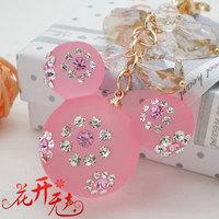 Full rhinestone MICKEY cartoon crystal beads women's car keychain key chain package linked to