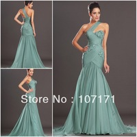 Stunning One Shoulde Handmade Flower Ruched Chiffon Mermaid Evening Dress Prom Dress