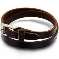 Wholesale Fashion Accessories Vintage Jewelry Genuine Cowhide Leather Men Cowboy Bracelet Bangle