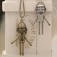 Min.order is $15 (mix order)vintage Rhinestone bronze robot necklace jewelry wholesale Free Shipping N59