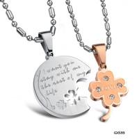 Fashion Accessories Jewelry Flower with CZ Diamond Lovers Titanium Steel Puzzle Clover Couple Pendant Necklace