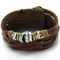 Wholesale Fashion Accessories Vintage Punk Jewelry Genuine Leather  Bracelet & Bangle for Men