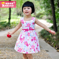 Khaki cocoa kid's skirt summer qisehua female child children's clothing personalized bow expansion bottom vest princess