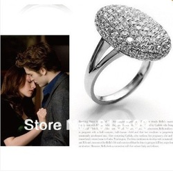 Free shipping ! Hot saleWholesale lots Twilight Eclipse Bella's Swan Rhinestone Engagement Ring Cullen movie jewelry(China (Mainland))