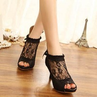 free shipping 2013 open toe shoe fashion thin heels sexy medium women's hells shoes ol shoes lace with the sandals