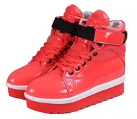 free shipping 2013 spring japanned leather platform shoes candy color velcro platform shoes casual shoes high shoes women's