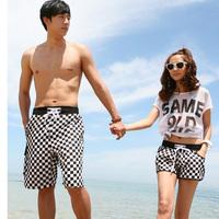 2014 Hot Sale Women Shorts Short Feminino Plaid Shorts Couple Beach Men Causal Sport Swimwear Surf Swimsuit Free Shipping