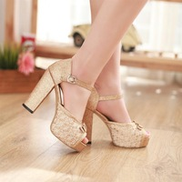 Open toe high-heeled shoes sandals black red gold silver wedding shoes thick heel platform sexy women's shoes thick heel