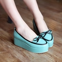 free shipping 2013 spring sweet bow in with the single shoes platform shoes japanned leather women's wedges shoes Sandals
