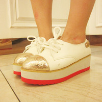 free shipping Spring and autumn new arrival platform casual shoes wedges single shoes swing women's shoes gold shoes