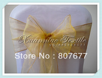 free shipping gold  organza chair  sash/organza chair cover sash/chair bow