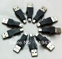 Free Shippping USB A to Mini B Adapter Converter 5-Pin Data Cable Male/M MP3 PDA DC Black 50Pcs/Lot Wholesale
