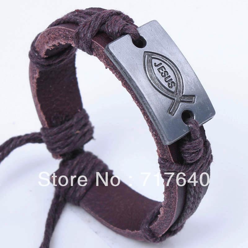Free ship!12pcs/lot! Braided Brown Genuine Leather Religion Jesus Bracelet Personlized Unisex Jewelry B-043(China (Mainland))