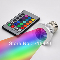 3W LED spotlight E27 RGB remote control dimmable led bulb lamp for home decoration, free shipping