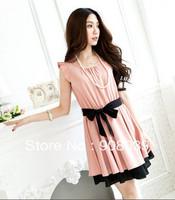 Hot Promotion 2013 spring With belt summer women one-piece dress elegant  sweet fluid ruffle sleeve