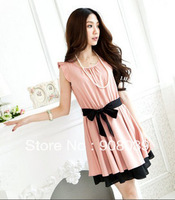 Hot Promotion 2013 spring With belt summer women one-piece dress elegant  sweet fluid ruffle sleeve