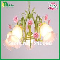 led pendant flower rose pink  E27*5 Lights Modern Wrought Iron Lighting Chandelier Lamp living room dinner bedroom free shipping
