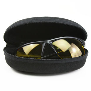 Black portable travel zipper glasses case ultralarge sun ultra-light box mirror box(China (Mainland))