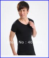 Slimming Body Shaper Men's Taping Inner Black Short Sleeve T-shirt 100pcs/lot(retail box)