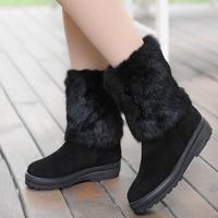 2012 medium-leg autumn and winter boots genuine leather rabbit fur platform flat boots platform flat heel snow boots