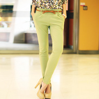 T7882012 women's fashion mid waist zipper slim casual long trousers skinny pants