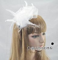 Fashion rhinestone bride banquet gauze bow feather hair bands headband hair accessory hair accessory