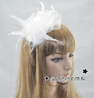 Fashion rhinestone bride banquet gauze bow feather hair bands headband hair accessory hair accessory