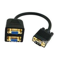 RGB VGA SVGA Male to 2 VGA HD 15 Female Splitter Adapter Extension Cable Black