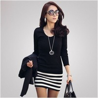 2013 spring women's basic o-neck long-sleeve shirt slim stripe patchwork plus size one-piece dress