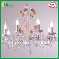 K9 Crystal Chandelier Lighting Decorative Freeshipping Pink Ceramic Rose Flower Garden Lights Ceiling Lamp Led Bulb Candle Lamp