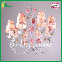Free Shiping E14*8 Lighting Modern Wrought Iron rose flower Lighting for living room, dinner room,  bedroom& study room