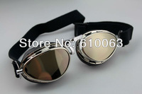 motorcycle parts Steampunk Style Pilot Motorcycle Scooter ATV Goggle Eyewear T02 Silver Lens