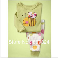 Free shipping wholesale long-sleeved clothes at home Tong to suit pale green small bees, 100% cotton,6set/lot