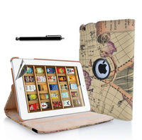 Map 360 degrees Rotating Stand Hard Leather Smart Case For Apple Mini iPad MINI