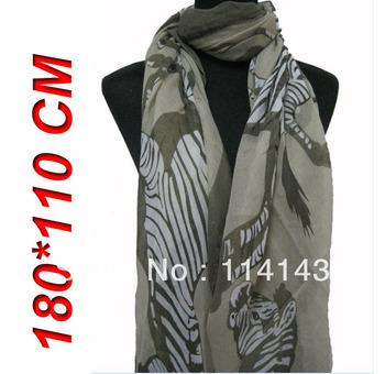 Fashion Women's Big Zebra Animal Print Scarf Shawl Wrap 180cm*110cm, Free Shipping