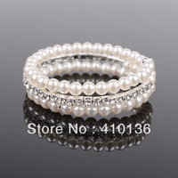 Min.Order $10 SBR316 Fashion Crystal Rhinestone Bracelet Bling Cuff 3 Rows 6mm Imitated Pearl Bracelet Free Shipping