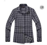 drop shipping  high quality fashion 100% cotton men's handsome working wearing  long sleeve plaid shirt  XXL size men's blouse
