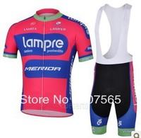 2013 Lampre Cycling Jersey /  Bike Wear shirt + Bib Shorts Sets / Suite Size :S,M.L.XL.XXL.XXXL