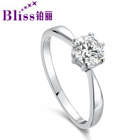 Platinum 925 pure silver women's cubic zircon hearts and arrows ring female classic wedding ring