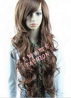 Free shipping Fashion synthetic hair wigs Long curly Big wave Black, Dark and Light brown color full lace wig
