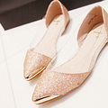 Fashion bling metal pointed toe flat mix match fashion women's flats shining shoes women solid color